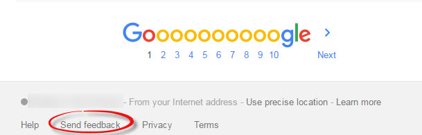 Google Search Feedback step 1