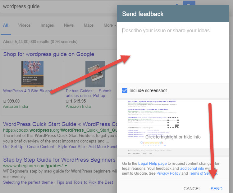 Google Search Feedback step 2