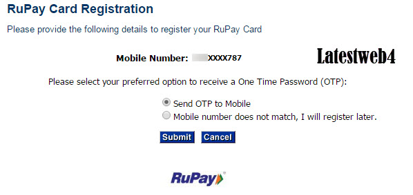 Rupay Paysecure Registration step 2