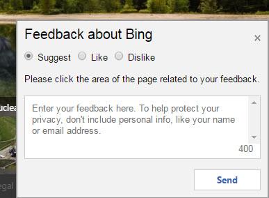 bing search feedback form