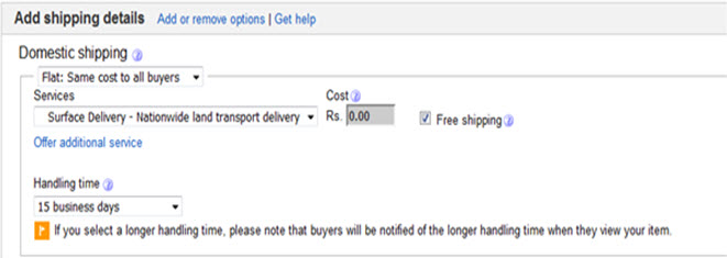 ebay shipping details