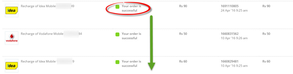 paytm recharge successful order transaction