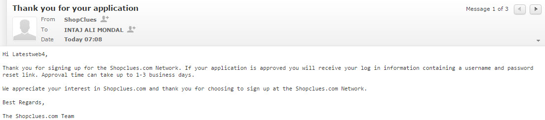 shopclues affiiate application reply