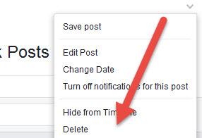 delete facebook post manually