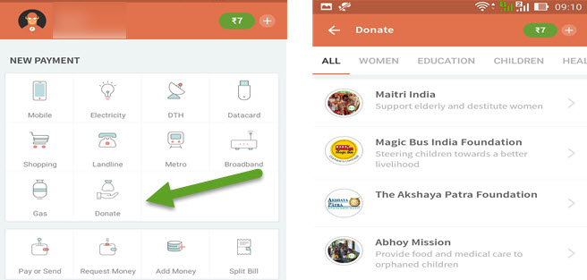 Freecharge Donations