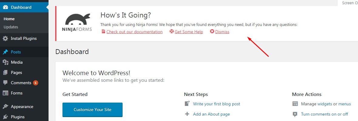 WordPress Cluttered Notification screenshot