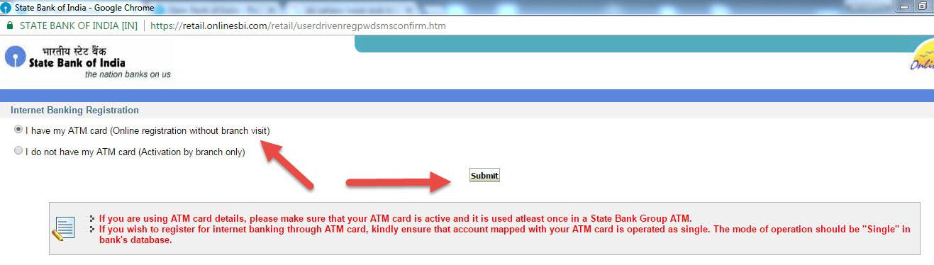 choose sbi atm debit card for internet banking