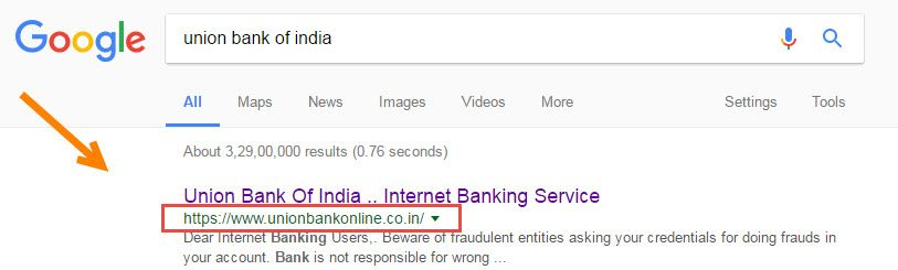 union bank of india google search engine display