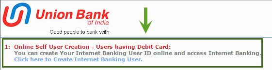 union bank self user creation with debit card